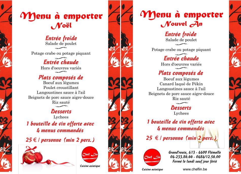 Menu De Noel A Emporter.Menus De Noel Et Nouvel An Pour Le Restaurant Asiatique Chef